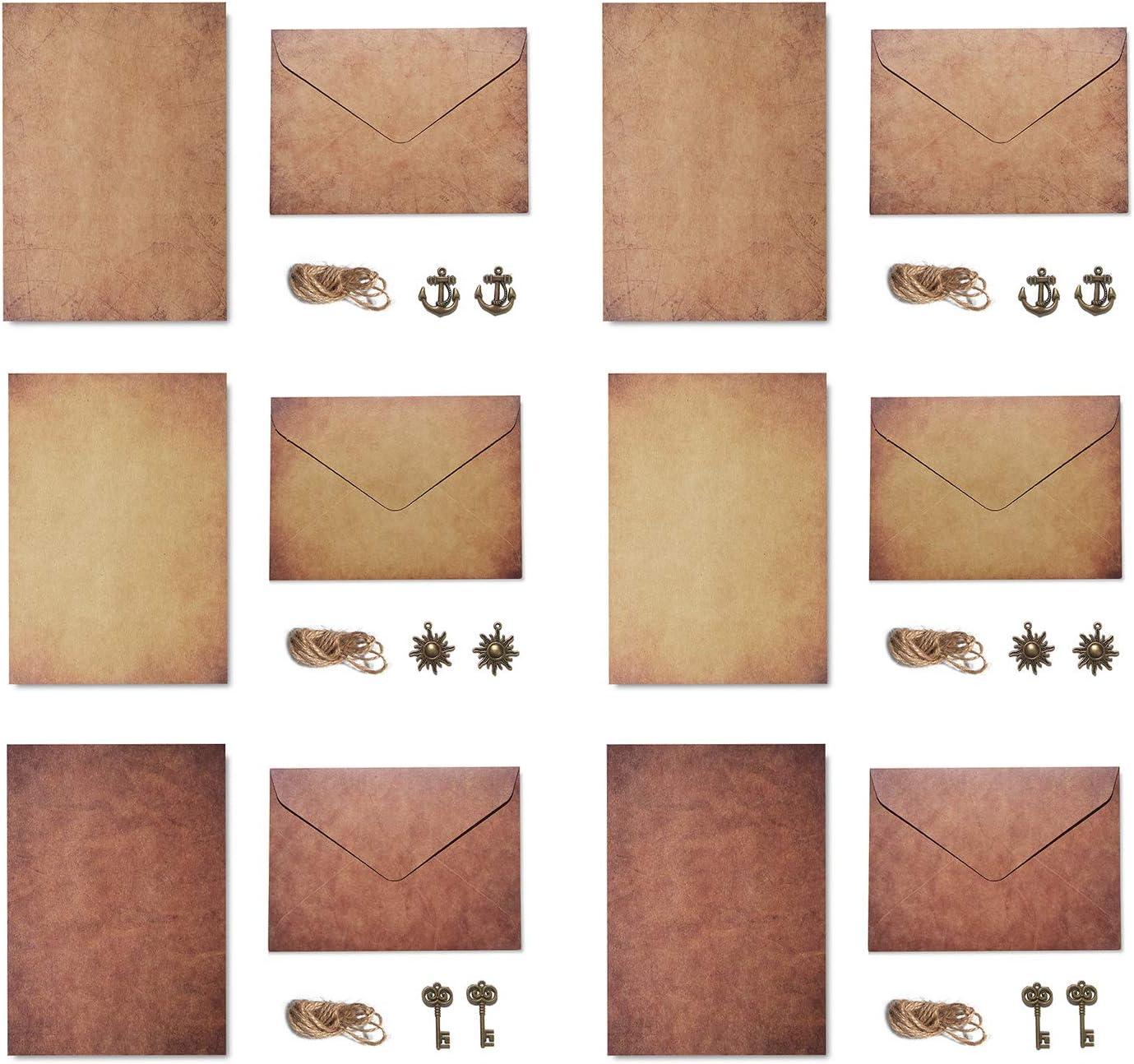 ensemble de papier /à lettres d/écriture de papeterie vintage papier imprim/é de conception de papier kraft de style classique vintage pour DIY Gwotfy 6Pack Ensemble denveloppes vintage