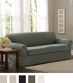 Maytex Pixel Stretch 2 Piece Sofa Slipcover, Dark Olive