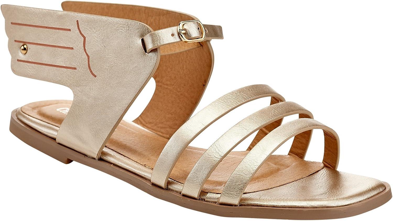 Charming Lady Womens Future Ankle Strap Open Toe Flat Sandal