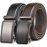 """Mens Belt 2 Pack,Leather Ratchet Click Belt Dress with Slide Buckle 1 3/8"""" in Gift Set Box- Size Adjustable"""