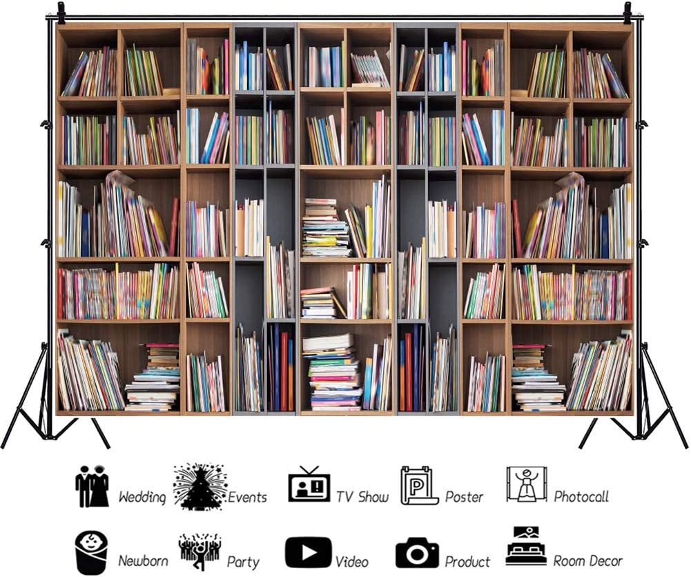 YEELE 10x8ft School Library Bookshelf Backdrop College Library Bookcase Photography Background Back to School Graduation Education Concept Interior Decoration Kids Adults Portrait Photo Studio Props