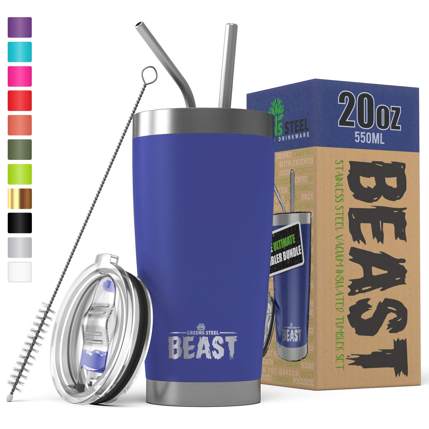 BEAST 20 oz. Royal Blue Tumbler Stainless Steel Vacuum Insulated Coffee Cup Double Wall Travel Flask (20 oz, Royal Blue)