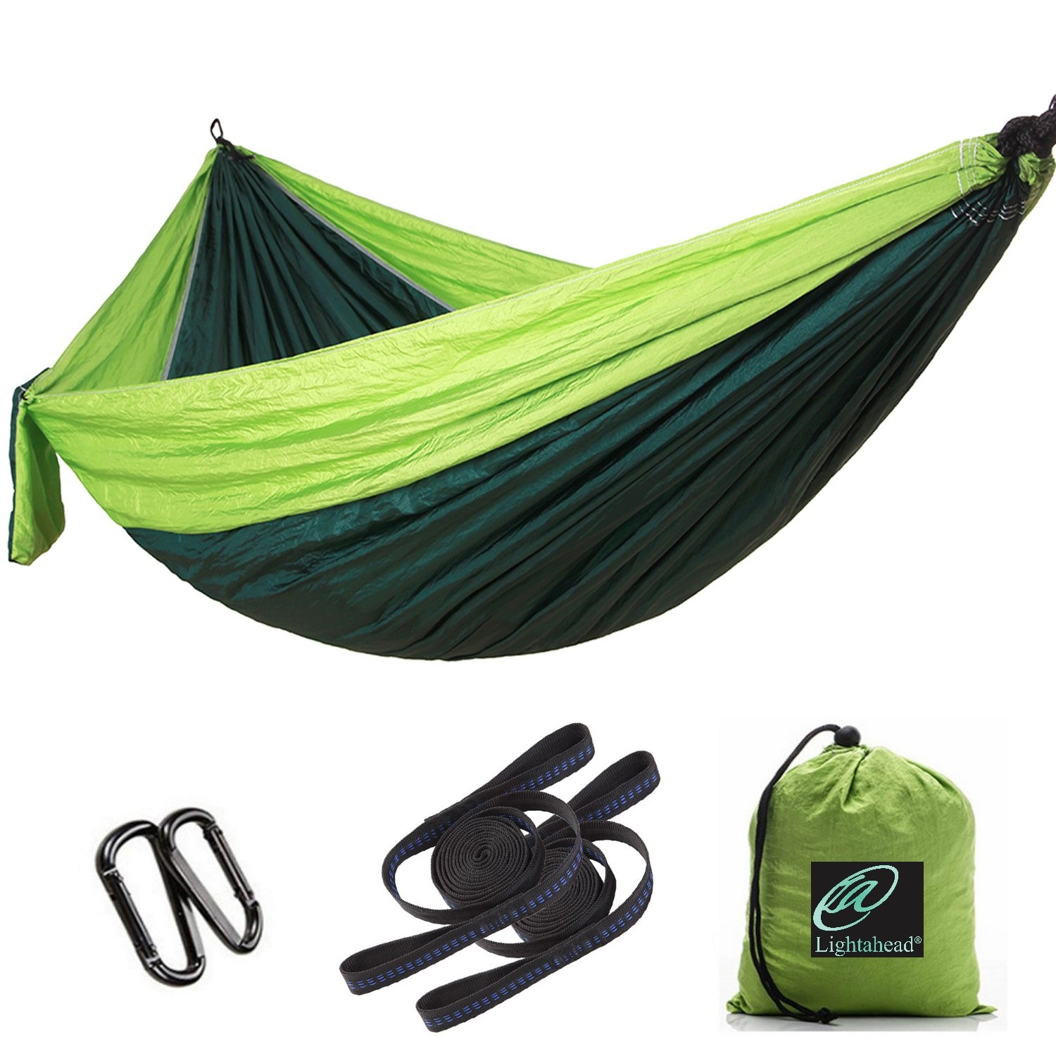 Lightahead Single Double Parachute Portable Camping Hammock Including 2 Straps Carabiners Heavy Duty Lightweight Nylon, Best Parachute Hammock for,Camping, Travel, Beach, Garden.