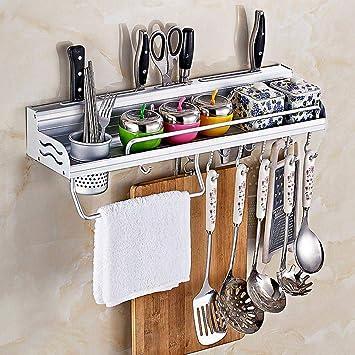 TEEPAO estante de pared para ollas, organizador de utensilios de cocina con espacio de aluminio
