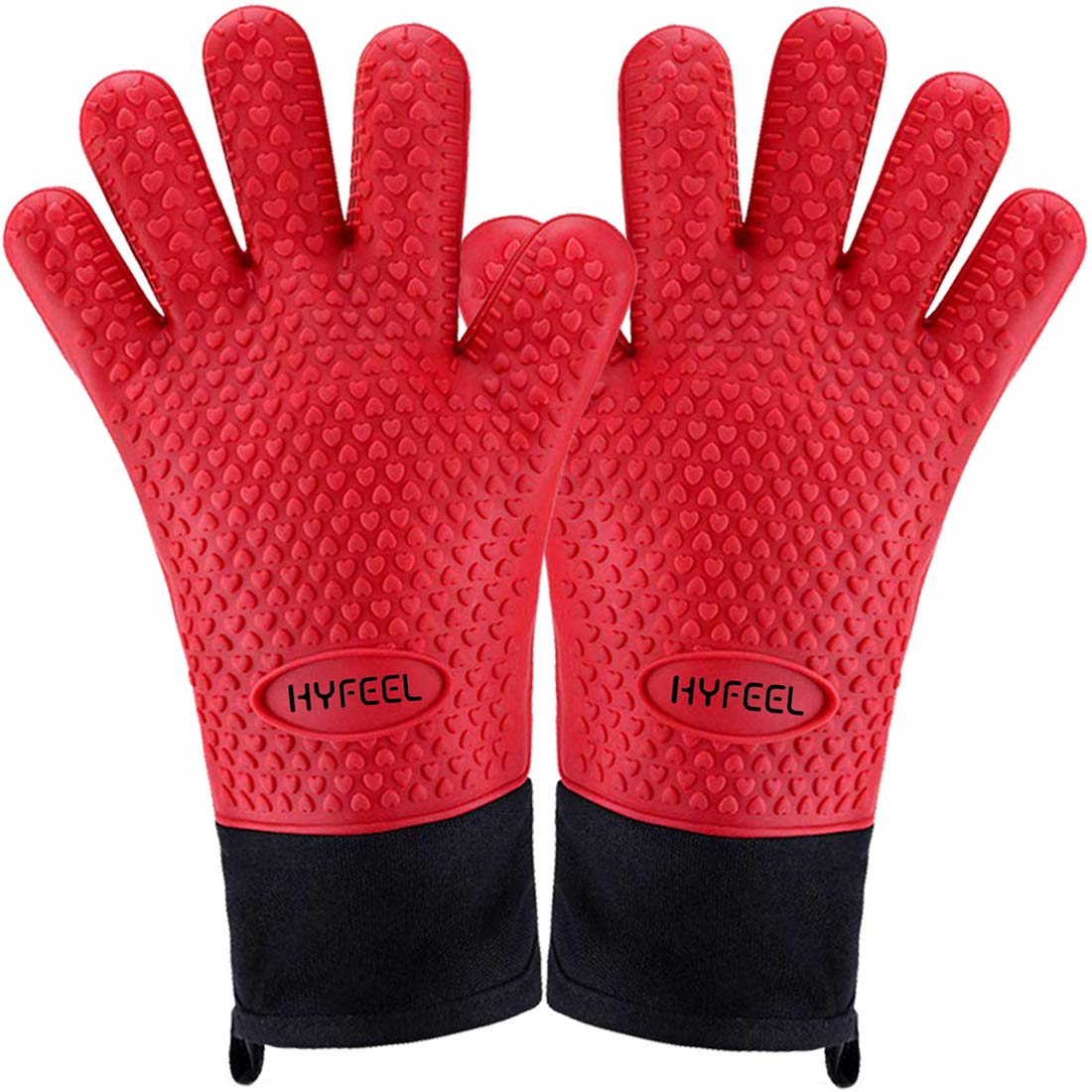 HYFEEL Oven Mitts Long Silicone Heat Resistant BBQ Grilling Gloves Lined with Fingers for Frying Baking Barbeque Cooking Smoker Red Kitchen Accessories 1Pair