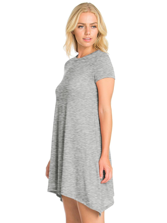 3de310671ae FACA Womens Shark Bite Loose Fit Tunic T-shirt Dress (S-XXXL) at Amazon  Women s Clothing store