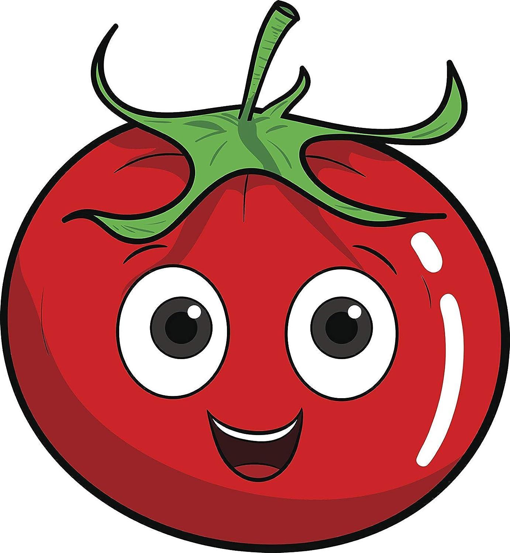 EW Designs Cute Kawaii Baby Vegan Vegetable Fruit Food Cartoon Emoji - Tomato Vinyl Decal Bumper Sticker (4