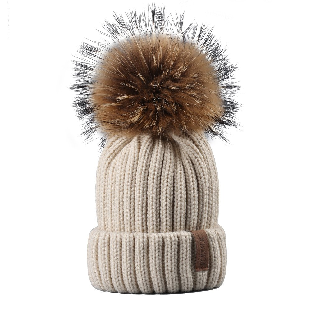 9a25561db97 FURTALK Womens Girls Winter Fur Hat Real Large Raccoon Fur Pom Pom Beanie  Winter Hats (Beige) at Amazon Women s Clothing store