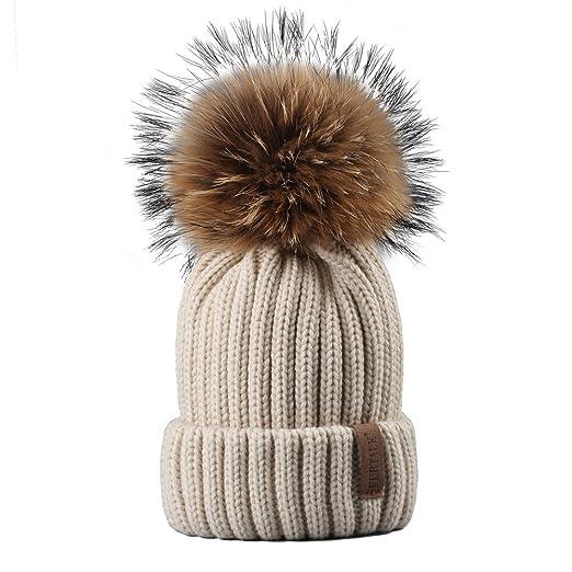 9f40ab4dfe2 FURTALK Womens Girls Winter Fur Hat Real Large Raccoon Fur Pom Pom Beanie  Winter Hats (