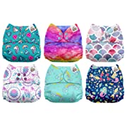 Mama Koala One Size Baby Washable Reusable Pocket Cloth Diapers, 6 Pack with 6 One Size Microfiber Inserts (Fairy Magic)