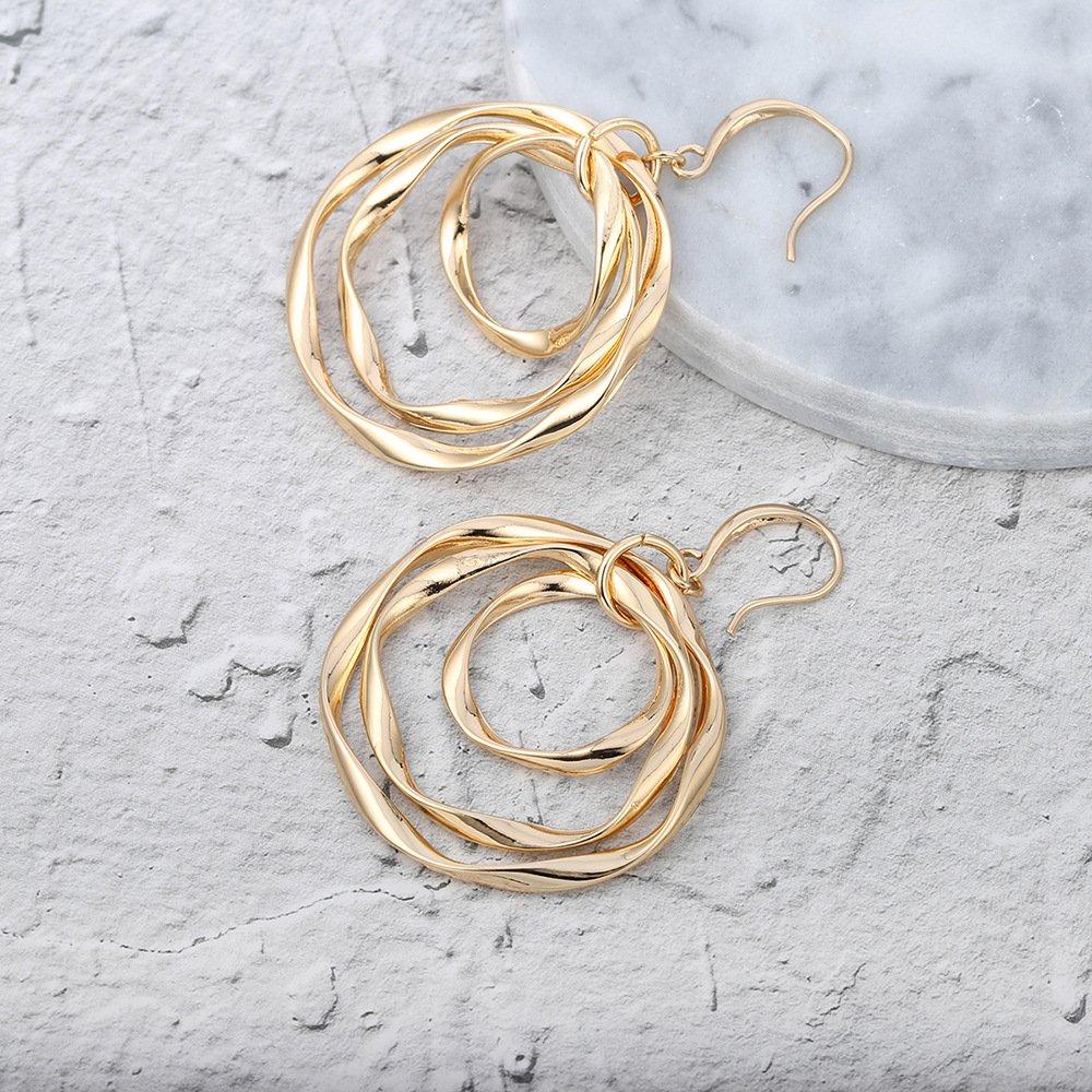 SHUNHAO Gold//Silver Twisted Design Geometric Triple Hoop Earrings