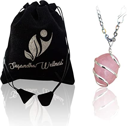 """Love Valentine Heart Key and Rose Quartz Bead 24/"""" Chain Necklace in Gift Bag"""