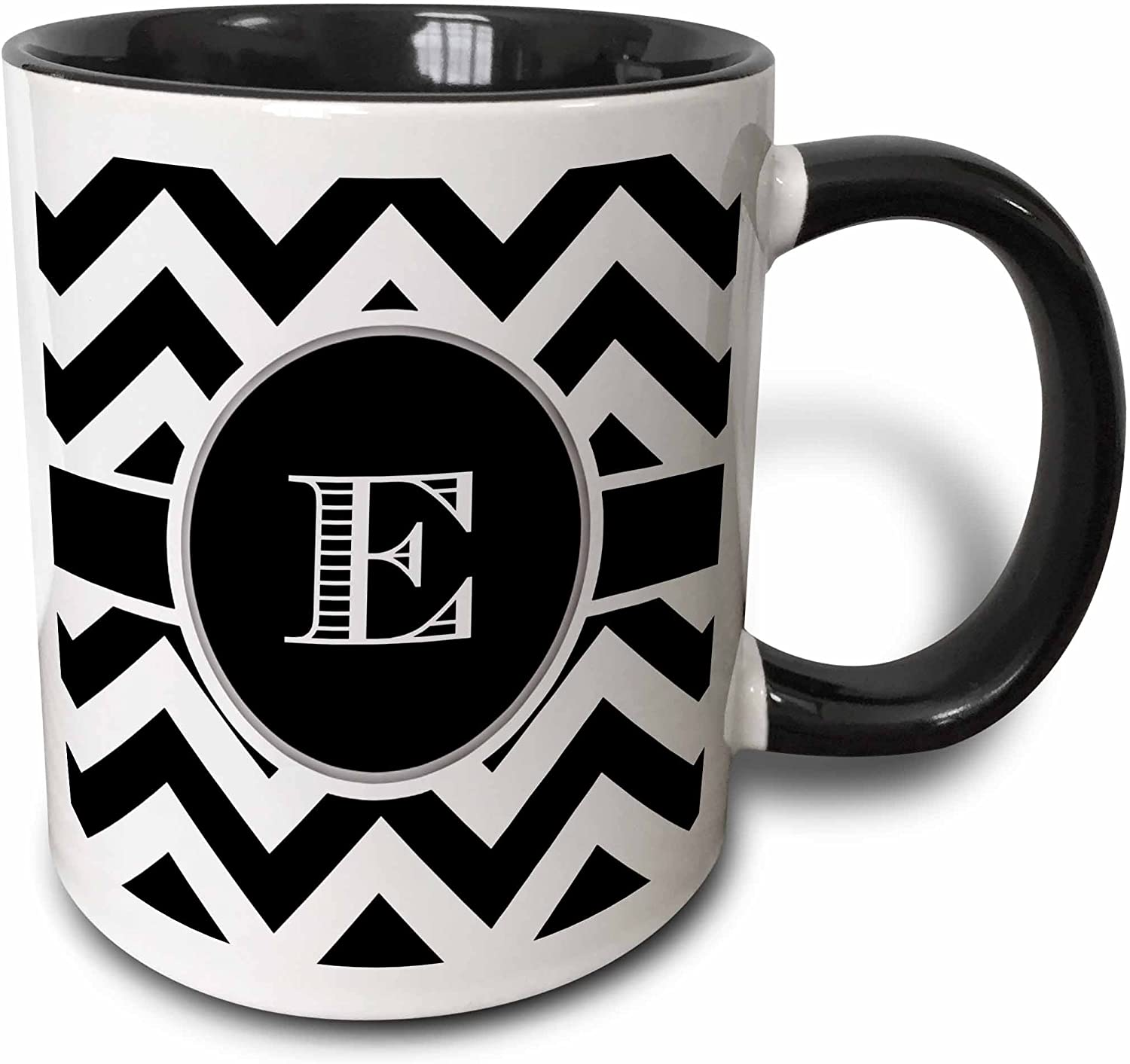 3dRose Black And White Chevron Monogram Initial E Mug, 11 oz