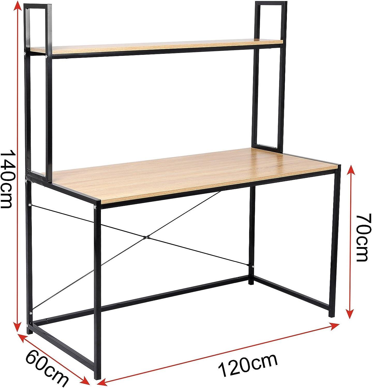 WOLTU TSB02hei Bureau dordinateur table de bureau /à domicile station de travail en bois et acier,environ 120x60x140cm,14,6kg