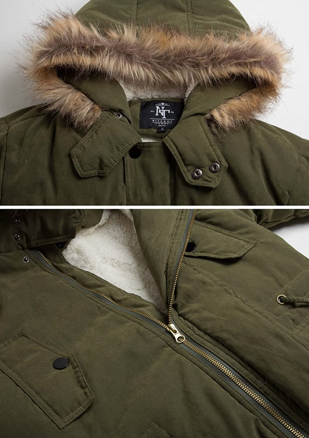 8ce1e4656953b NITAGUT Men s Hooded Faux Fur Lined Warm Coats Outwear Winter Jackets at  Amazon Men s Clothing store