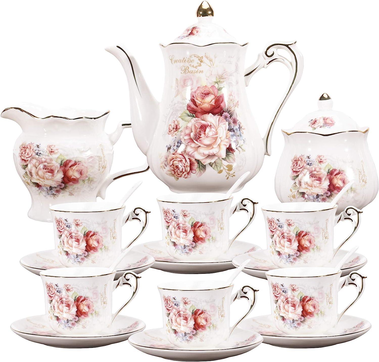 fanquare 15 Pieces Porcelain Vintage Tea Set,Rose Flowers Tea Party Set for Women,Adults,China Coffee Set