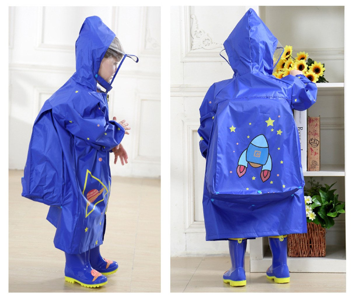 WYTbaby Kids Raincoats, Boys Girls Hooded Rain Poncho with School Bag Position,Blue by WYTbaby (Image #6)