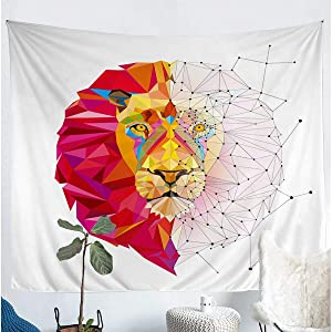 Erosebridal Men Bohemian Lion Tapestry Small 51x59 Geometric Lion Head Tapestries Wildlife Animal Tapestries Modern Abstract Pattern Wall Hangings, Red Colorful White Decor Wall Artwork