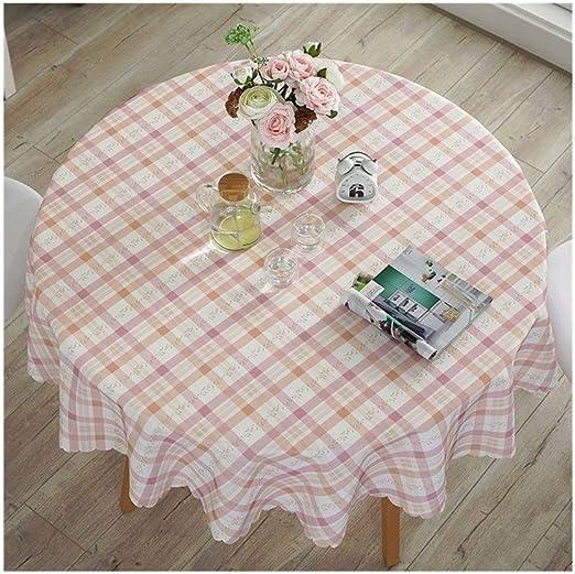 LIULAOHAN Mantel Redondo, patrón de Mecha Rosa, Tela Escocesa, algodón Grueso y Mantel de Lino 8 tamaños para Elegir, Adecuado para Mesa de Cocina/Mesa Redonda Decoración de Escritorio: Amazon.es: Hogar