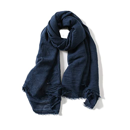 9cbbd3d74 Cotton Scarf Shawl Wrap Soft Lightweight Scarves And Wraps For Men And Women  (Navy)