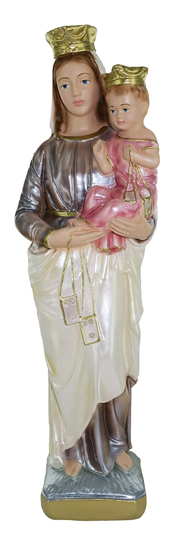 30 cm Ferrari /& Arrighetti Statua Madonna del Carmine in Gesso madreperlato Dipinta a Mano