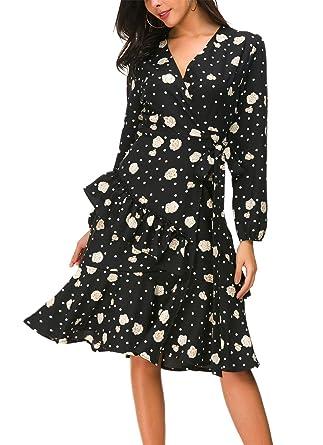 2d720e4d9c3 Kormei Womens Floral Chiffon Wrap V Neck Split Ruffle Swing Casual Shirt  Dress with Belt