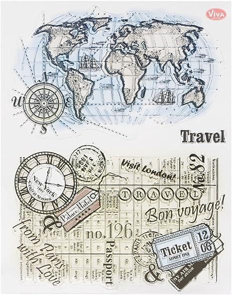 Bduco Sellos transparentes para tarjetas – mapa del mundo, sello de silicona transparente DIY Scrapbooking Craft sellos: Amazon.es: Juguetes y juegos