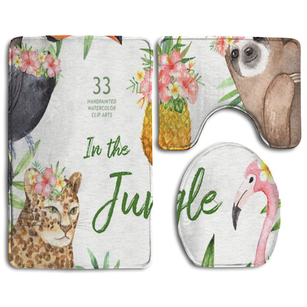 KAHmn In The Jungle 3-Piece Soft Bath Rug Set Includes Bathroom Mat Contour Rug Lid Toilet Cover Home Decorative Doormat
