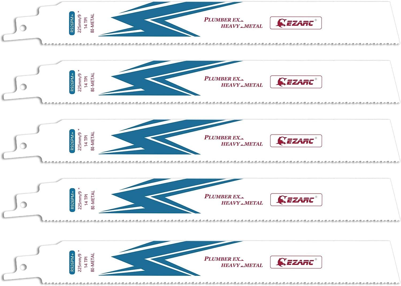 EZARC Lame de scie sabre pour la Coupe de Métal 225 mm 14TPI R922PM 5-Pack