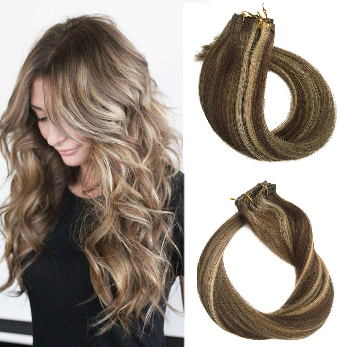 Amazon Com 18 Short Hair Extensions Clip In Human Hair Brown To Blonde Highlights 70grams 7pcs Silky Straight Full Head Clip On Balayage Extensions 4 27 Beauty
