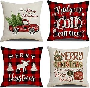 "KACOPOL Christmas Pillow Covers Red Black Buffalo Check Plaids Farmhouse Decorative Cotton Linen Throw Pillow Case Cushion Cover for Sofa 18"" x 18"" Christmas Decorations (Christmas Buffalo Plaid)"