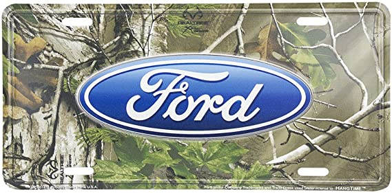ford tough tag truck emblem license plate gone fishing hunters enthusiast camo
