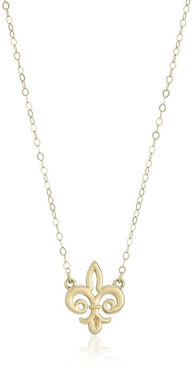 Amazon 14k yellow gold fleur de lis pendant necklace 17 jewelry 14k yellow gold fleur de lis pendant necklace 17quot aloadofball Images