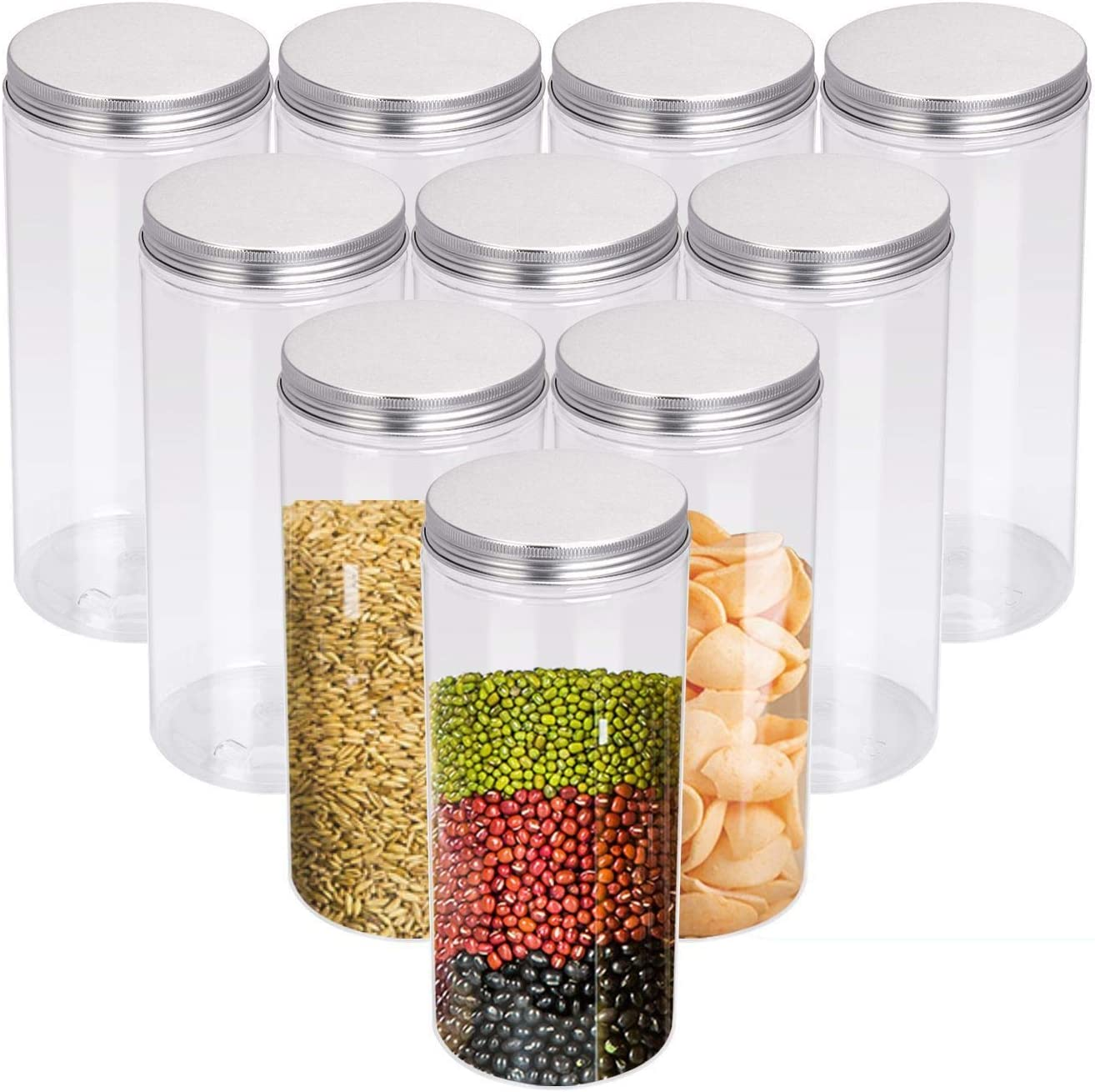 35 Oz Clear Plastic Jars with Lids - Round Food Storage Containers Set of 10 for Dry Goods, Cereals, Spices and More