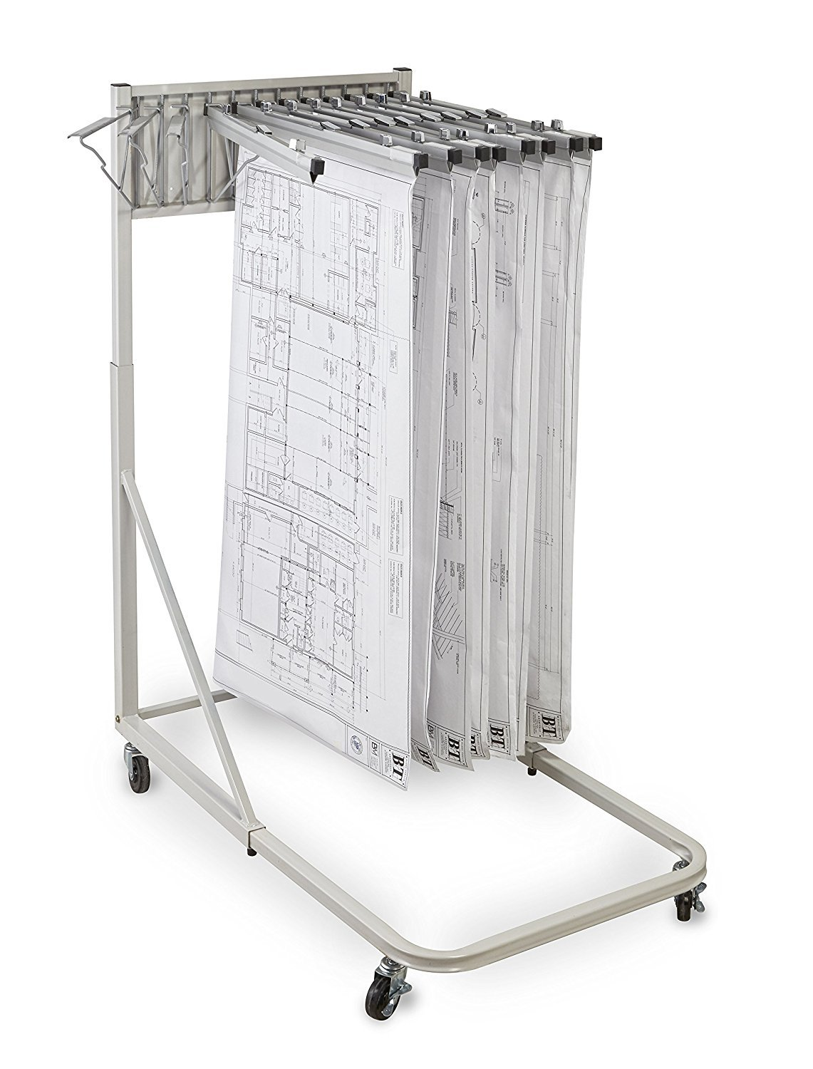 Adir Corp. Vertical File Rolling Stand for Blueprints- Plans, Sand Beige with 12 30'' File Hanging Clamps by Adir Corp.
