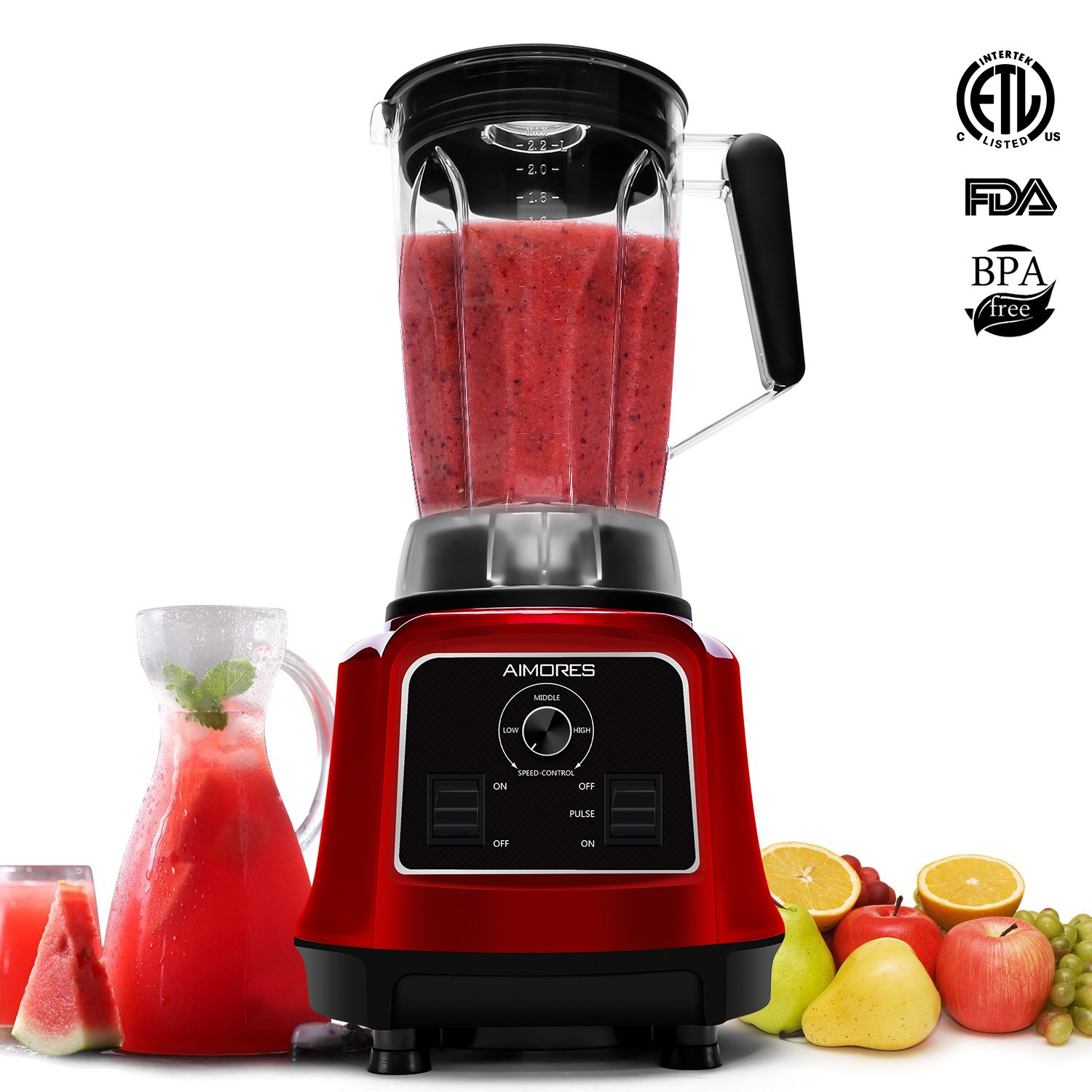 Professional Blender Aimores for Smoothie | 750z. High Speed Juicer, Ice Cream Maker | Optimized 6 Sharp Blades | Auto Clean & Simple Control | Recipe & Tamper | ETL & FDA Certified (Red)