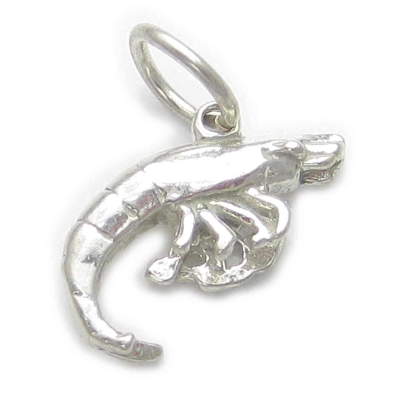Prawn Crevette en Argent 925//1000 charms EC1728 Crevettes Penaeus