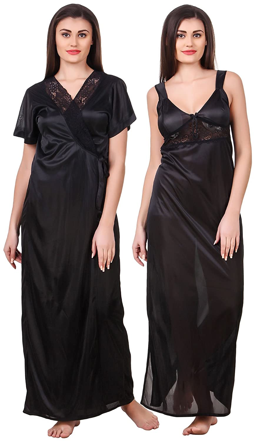 926c063ff2 Fasense Women Satin Nightwear 2 Pc Set of Nighty   Wrap Gown OM007   Amazon.in  Clothing   Accessories