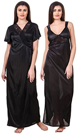 04c4943fba Fasense Women Satin Nightwear 2 Pc Set of Nighty   Wrap Gown OM007 (Black