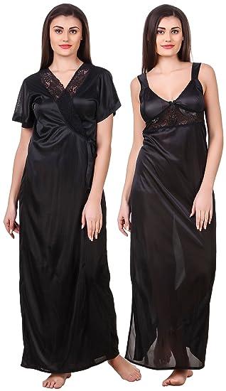 abade4da8 Fasense Women Satin Nightwear 2 Pc Set of Nighty   Wrap Gown OM007 (Black