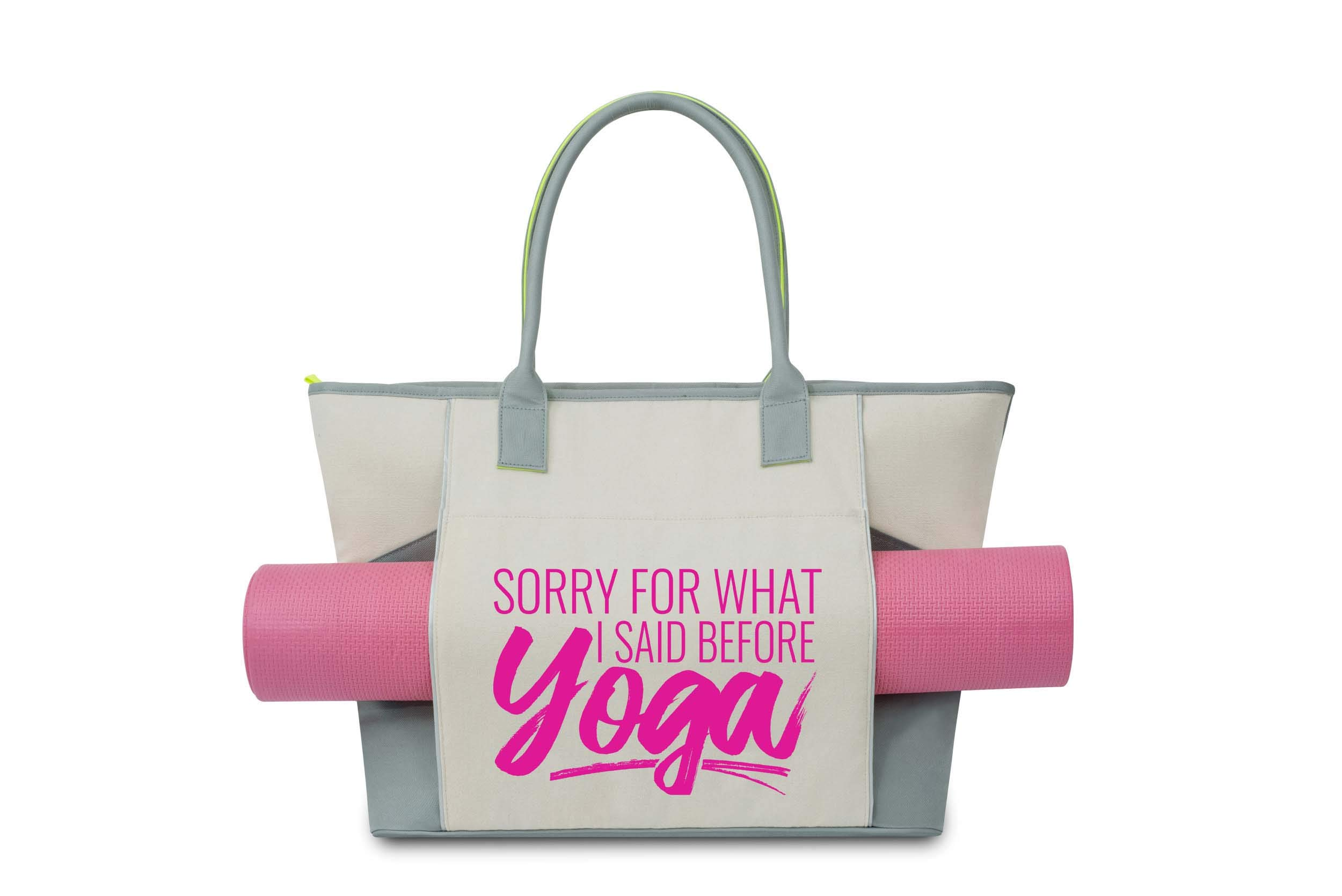 Cute Yoga Tote Bag - Sorry For What I Said Before Yoga Canvas Gray Tote - Includes Front Pocket for Carrying Mat, Side Water Bottle Pocket and Zippered Pockets - Perfect Gift for Yoga Lovers