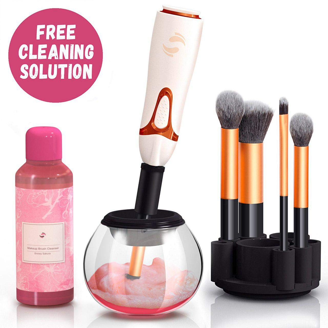 BeUniqueToday Professional Makeup Brush Cleaner - Automatic Spin Makeup Brush Cleaner Dryer Machine - Bonus Cleaning Solution