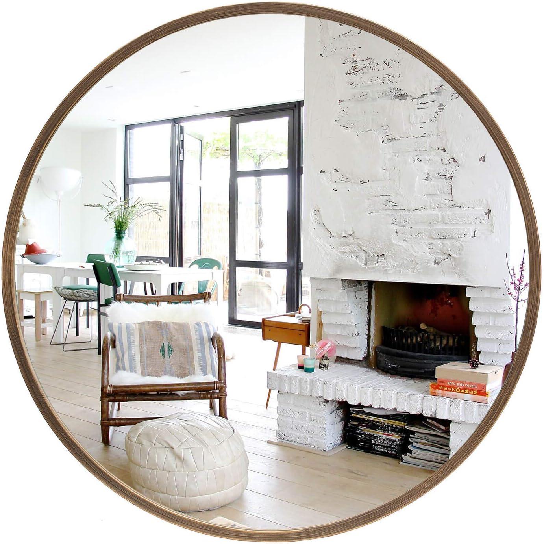 "Geloo Large Round Wall Mirror- 28"" Modern Vintage Gold Brushed Metal Frame Circle Mirror,Vanity Mirror,Wall-Mounted Mirror for Bathroom,Bedroom,Living Room,Entryway,Vanity Washrooms,Home Mirrors Decor"
