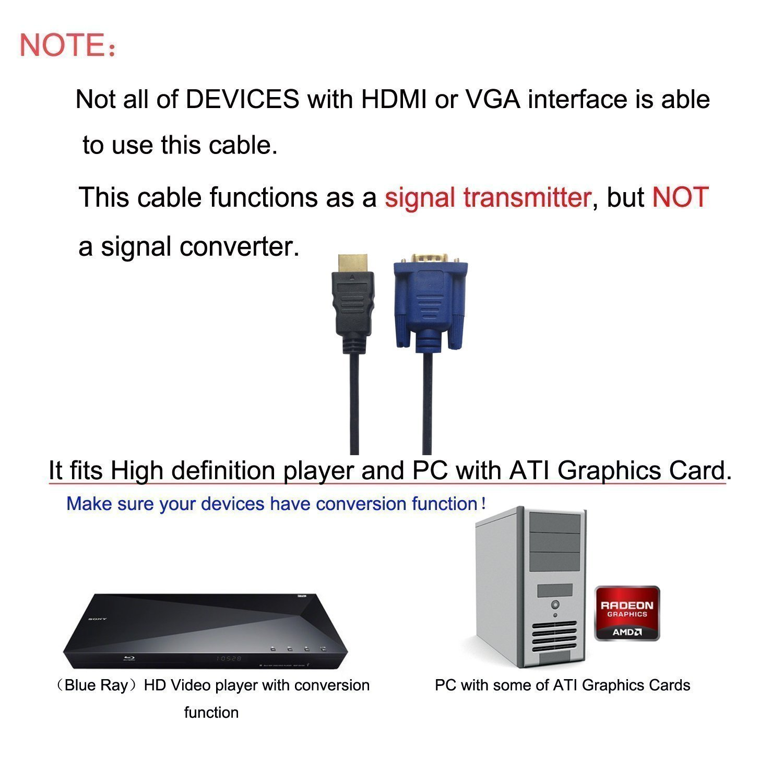 TV 1,8 m Cable conversor HDMI a VGA activo 1080P HDMI macho a VGA macho D-SUB 15 pines M//M cable adaptador convertidor de v/ídeo soporte Full 1080P convert se/ñal de entrada HDMI port/átil HDTV a VGA monitor proyector