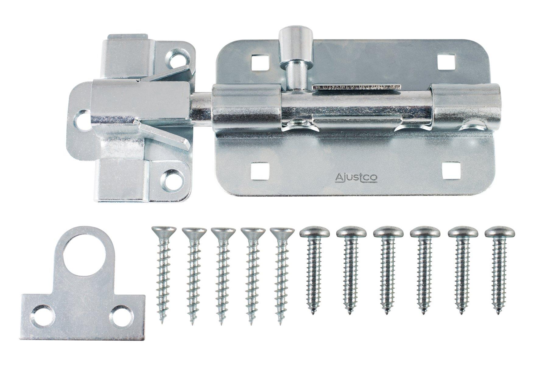AjustLock 5'' Zinc Barrel Bolt, Extra Heavy Duty Lock