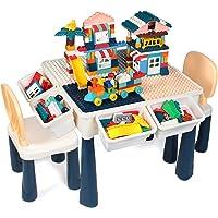 GobiDex Juego de mesa de actividades 7 en 1 para niños con 2 sillas y 158 bloques de tamaño grande compatibles con…
