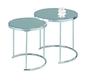 Aspect Visio Table Gigogne Ronde Métal Mirrorchrome 50x50x50 Cm