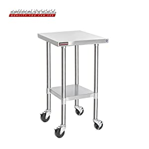 "DuraSteel Stainless Steel Work Table 24"" x 18"" x 34"" Height w/ 4 Caster Wheels -Food Prep Commercial Grade Worktable - NSF Certified - Good For Restaurant, Business, Warehouse, Home, Kitchen, Garage"