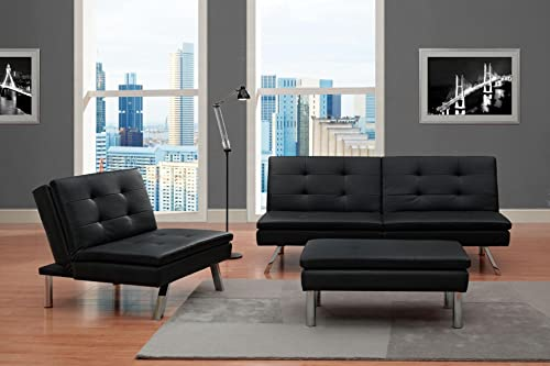 DHP Chelsea Convertible Accent Chair with Pillow, Black Faux Leather