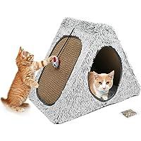 Rascador de gato de cartón para casa condominio, almohadillas para rascar gatos extraíbles con juguete para ratones y…